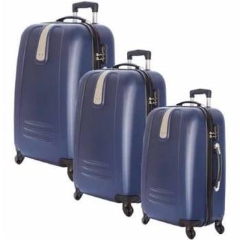 Conjunto de Malas de Viagem Yins com Rodinhas Giro 360º 3 Peças Azul YS01083A