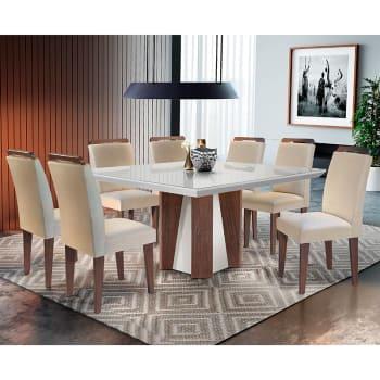 Conjunto de Mesa para Sala de Jantar Quadrada com 8 Cadeiras Helena/Athenas-Rufato - Veludo creme / Off white / Café
