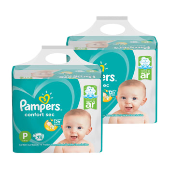 Kit de Fraldas Pampers P Confort Sec Super - 148 Unidades