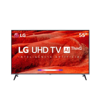 "Smart TV LED 55"" LG UM7520 Ultra HD 4K HDR Ativo, DTS Virtual X, Inteligência Artificial, ThinQ AI, WebOS 4.5"