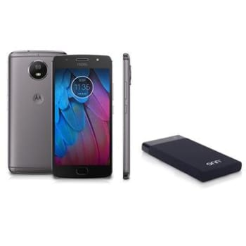 "Motorola Moto G5S Platinum 5.2"" Octa Core 32GB 2GB RAM Câmera 16MP e Frontal 5MP XT1792 + Carregador Portátil para Dispositivos USB ONN Preto PC876"