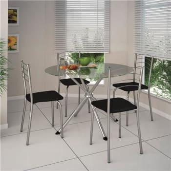 Mesa de Jantar com 4 Cadeiras Brigatto Letícia - Cromado/Preto