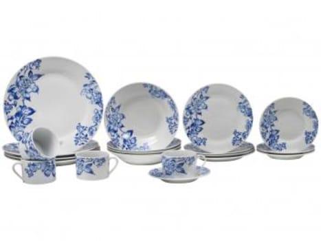 Aparelho de Jantar 20 Peças Evolux Porcelana - Redondo Branco Inova Floral Azul - Magazine Ofertaesperta