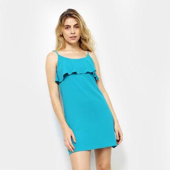 Vestido #MO Evasê Curto Babado Liso - Verde água