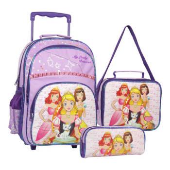 Kit Escolar Mochilete, Lancheira e Estojo SP Express Princesa SET-011 Roxa