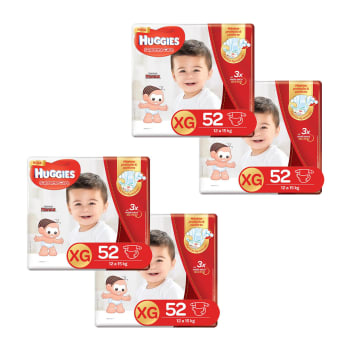 Kit de Fraldas Huggies Hiper Supreme Care XG - 208 Unidades