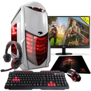 PC Gamer G-FIRE htg-308 AMD A6 7400K 8GB (Radeon R5 2GB Integrada) 1TB monitor 18,5 - Vermelho