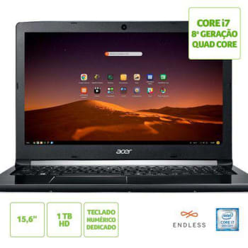"Notebook Acer Aspire 5 A515-51-C0ZG Intel® Core™ i7-8550U 8ªGeração 8GB RAM HD de 1TB 15.6"" HD Linux (ENDLESS OS"