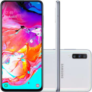 "Smartphone Samsung Galaxy A70 128GB Dual Chip Android 9.0 Tela 6.7"" Octa-Core 4G Câmera Tripla 32MP + 5MP + 8MP (UW) - Branco"
