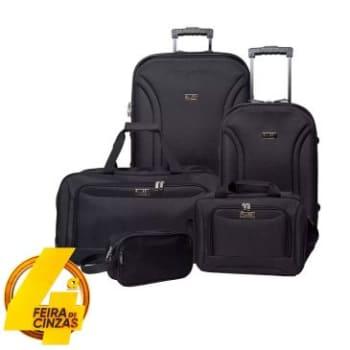 Conjunto de Malas 5 Pçs - CJ14G0285P 23, 28 e 24, Porta Laptop e Necessaire em Poliéster, Semi Rígida, 2 Rodas, Bolsos Frontal, Preta - Swiss Move