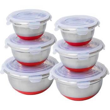Conjunto de Potes Inox Hermético com silicone Vermelho 6 Peças - La Cuisine