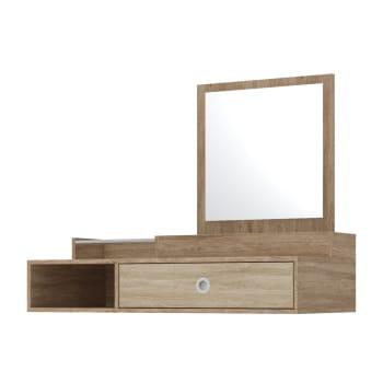 Penteadeira com Espelho de Parede em MDP Nogal Vanilla Touch Demóbile Jasmin 5920SP
