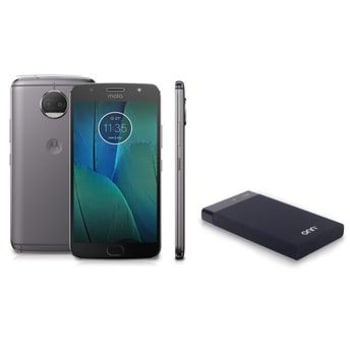 "Motorola Moto G5S Plus Platinum Tela 5.5"" Octa Core 32GB 3GB RAM Câmera Dupla 13MP XT1802 + Carregador Portátil para Dispositivos USB ONN Preto PC877"